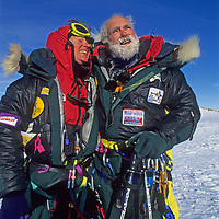 Norman and Carolyn Muegge Vaughan look back in triumph and exhaustion after they made the first ascent of Mount Vaughan in Antarctica, 2 days shy of Norman's 89th birthday.