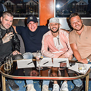 Shane Lynch, Tamer Hassan, ManLikeHaks and Dapper Laughs attend the Driving holiday experience hosts yacht party at The Sunborn Yacht, Royal Victoria Dock on 31 May 2019, London, UK.