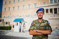 Athens, Greece - Greek parliament guards called the Evzones - Faces and people