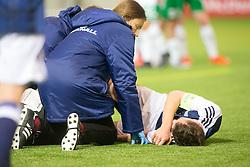 Scotland's Chris Hamilton (2) injured in a tackle on Repulic of Ireland's keeper Kian Clarke. Scotland 0 v 3 Repulic of Ireland, Under 16 Victory Shield played at Oriam, Edinburgh.