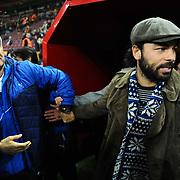 Galatasaray's Selcuk Inan (R) and Bursaspor's coach Senol Gunes (L) during their Turkish Super League soccer match Galatasaray between Bursaspor at the AliSamiYen Spor Kompleksi TT Arena at Seyrantepe in Istanbul Turkey on Sunday, 01 February 2015. Photo by Batuhan AKICI/TURKPIX