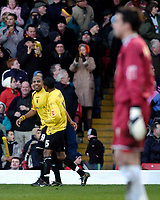 Photo: Alan Crowhurst.<br />Watford v Cardiff City. Coca Cola Championship. 25/02/2006. Watford's Marlon King (L) celebrates his winner .