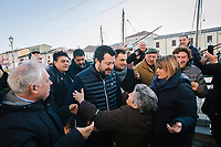 CESENATICO, ITALY - 5 JANUARY 2020: Matteo Salvini (center), former Interior Minister of Italy and leader of the far-right League party, is greeted by supporters during his campaign in Cesenatico, Italy, on January 5th 2020.<br /> <br /> Matteo Salvini is campaigning in the region of Emilia Romagna to support the League candidate Lucia Borgonzoni running for governor.<br /> <br /> After being ousted from government in September 2019, Matteo Salvini has made it a priority to campaign in all the Italian regions undergoing regional elections to demonstrate that, in power or not, he still commands considerable support.<br /> <br /> The January 26th regional elections in Emilia Romagna, traditionally the home of the Italian left, has been targeted by Matteo Salvini as a catalyst for bringing down the government. A loss for the center-left Democratic Party (PD) against Mr Salvini's right would strip the centre-left party of control of its symbolic heartland, and probably trigger a crisis in its coalition with the Five Star Movement.