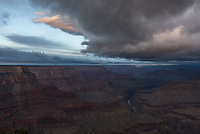 On my last morning at the Grand Canyon, I went to Mohave Point to shoot the sunrise. But there wasn't much color, since snow showers were moving in.