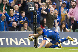 May 27, 2018 - Dublin, Ireland - Jordan Larmour of Leinster scores a try during the Guinness PRO14 Final match between Leinster Rugby and Scarlets at Aviva Stadium in Dublin, Ireland on May 26, 2018  (Credit Image: © Andrew Surma/NurPhoto via ZUMA Press)