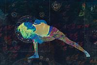 Powerful blue yogini in cosmic fire and Kali goddess shadow yoga mode.