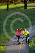 Couple Biking, Paths, Valley Forge National Historic Park, King of Prussia, Montgomery Co., PA Biking in PA Young Adult Couple Biking,