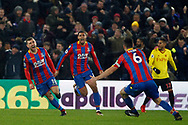 James McArthur of Crystal Palace (L) celebrates after scoring his teams second goal. Premier League match, Crystal Palace v Watford at Selhurst Park in London on Tuesday 12th December 2017. pic by Steffan Bowen, Andrew Orchard sports photography.