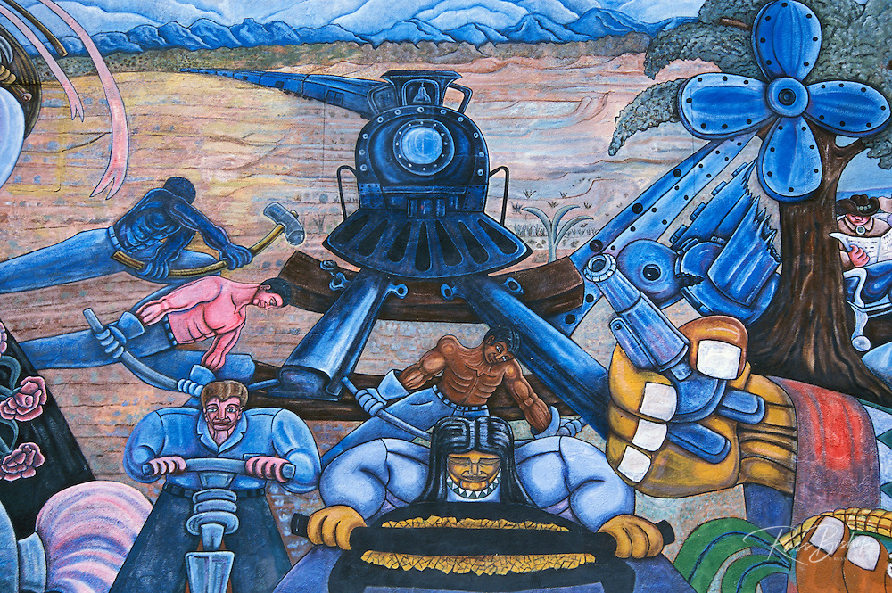 Mural depicting the Santa Fe Railway and it's influence on the state at the Santa Fe Southern Railway depot, Santa Fe, New Mexico