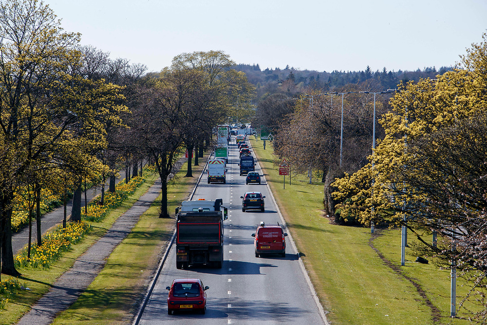 DUNDEE, SCOTLAND, APRIL 2021: An increase in traffic on main roads as lockdown eases throughout Scotland. Traffic on the A90 Dundee.<br /> <br /> <br /> (Photo: Ross Johnston/Newsline Media)