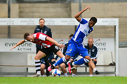 Abu Ogogo of Bristol Rovers challenges for the ball - Mandatory by-line: Dougie Allward/JMP - 15/08/2020 - FOOTBALL - Memorial Stadium - Bristol, England - Bristol Rovers v Exeter City - Pre-season friendly