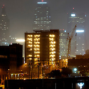 Downtown Kansas City at night as a summertime thunderstorm rolled across the area.