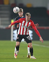 Brentford's Marcus Forss and Middlesbrough's Hayden Coulson<br /> <br /> Photographer Rob Newell/CameraSport<br /> <br /> The Emirates FA Cup Third Round - Brentford v Middlesbrough - Saturday 9th January 2021 - Brentford Community Stadium - Brentford<br />  <br /> World Copyright © 2021 CameraSport. All rights reserved. 43 Linden Ave. Countesthorpe. Leicester. England. LE8 5PG - Tel: +44 (0) 116 277 4147 - admin@camerasport.com - www.camerasport.com