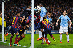 Barcelona Goalkeeper Victor Valdes (ESP) makes a save on the line from a header by Man City Midfielder Yaya Toure (CIV) - Photo mandatory by-line: Rogan Thomson/JMP - Tel: 07966 386802 - 18/02/2014 - SPORT - FOOTBALL - Etihad Stadium, Manchester - Manchester City v Barcelona - UEFA Champions League, Round of 16, First leg.