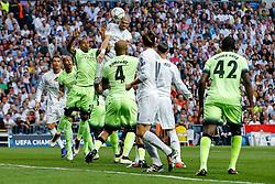 Pepe of Real Madrid heads the ball - Mandatory byline: Rogan Thomson/JMP - 04/05/2016 - FOOTBALL - Santiago Bernabeu Stadium - Madrid, Spain - Real Madrid v Manchester City - UEFA Champions League Semi Finals: Second Leg.