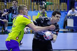 Blaz Blagotinsek #3 of RK Celje Pivovarna Lasko during handball match between RK Celje Pivovarna Lasko (SLO) and Besiktas J.K. (TUR)  in 14th Round of EHF Men's Champions League 2015/16, on March 5, 2016 in Arena Zlatorog, Celje, Slovenia. (Photo by Ziga Zupan / Sportida)