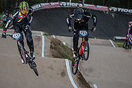#717 (JIMENEZ CAICEDO Andres Eduardo) COL and #785 (CALIXTO LOPEZ Miguel Alejandro) COL at the 2016 UCI BMX Supercross World Cup in Santiago del Estero, Argentina