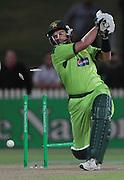 Shahid Afridi is Bowled for 7 runs during the  New Zealand Black caps vs the Pakistan at second match T20 international cricket game at Seddon Park Hamilton  ,New Zealand , 28 Dec  2010. AFP PHOTO/Brendon O'HAGAN