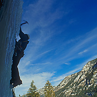 """Dougal McCarty ice climbs on the """"Elevator Shaft"""" in Hyalite Canyon, near Bozeman, Montana."""