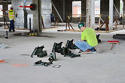 Central Connecticut State University.  New Academic Building.  Project No: BI-RC-324 Contractor: Gilbane Building Company, Glastonbury, CT. Date of Photograph: 19 June 2012 Image No. 72. Camera View: Plumber preparing Fixures for installation.