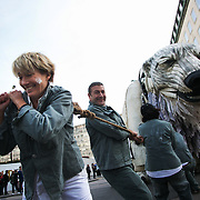 Emma Thompson, a staunch supporter of the Arctic and Greenpeace pulls the giant bear with Greenpeace supporters. Greenpeace and the giant polar bear Aurora outside Shell London HQ.  'Save the Arctic' is a long running campaign by Greenpeace targeting oil companies like Shell. Greenpeace wants oil exploration in the Arctic to stop and the giant polar bear Aurora has spend the past 4 weeks outside Shell's London HQ demanding Shell to stop drilling for oil. On Monday Sept 28 Shell announced they would stop drilling, a huge victory for Greenpeace and the environment movement.