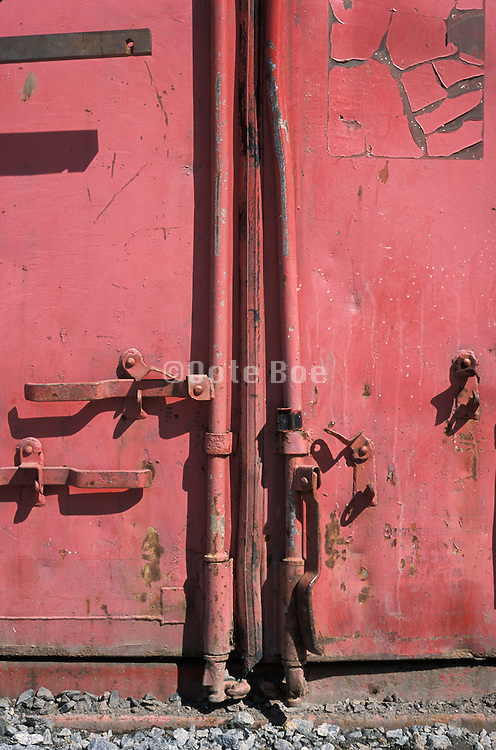 Detail of a weathered metal container door