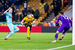 February 11, 2019 - Wolverhampton, England, United Kingdom - Matt Doherty of Wolverhampton Wanderers so close to the opening goal beating Sean Longstaff of Newcastle United to the ball during the Premier League match between Wolverhampton Wanderers and Newcastle United at Molineux, Wolverhampton on Monday 11th February 2019. (Credit Image: © Mi News/NurPhoto via ZUMA Press)