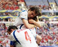 Photo: Chris Ratcliffe , Digitalsport<br /> USA v Czech Republic. Group E, FIFA World Cup 2006. 12/06/2006.<br /> Tomas Rosicky of Czech Republic celebrates scoring the third Czech Republic goal.<br /> Tsjekkia