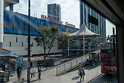 An exterior view from a London bus, of Elephant & Castle Shopping Centre which closing on Thursday for redevelopment, on 22nd September 2020, in south London, England. The much-criticised architecture of the Elephant & Castle Shopping Centre was opened in 1965 was built on the bomb damaged site of the former Elephant & Castle Estate, originally constructed in 1898. The centre was home to restaurants, clothing retailers, fast food businesses and clubs where south Londoners socialised and met lifelong partners.