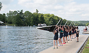 """Henley. Berks, United Kingdom. <br /> <br /> """"Turning The Eight"""" after lifting from the water. 2017 Henley' Women's Regatta. Rowing on, Henley Reach. River Thames. <br /> <br /> <br /> Saturday  17/06/2017<br /> <br /> <br /> [Mandatory Credit Peter SPURRIER/Intersport Images]"""