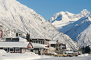 Alaska. Valdez. A snowy town in the midst of the Chagach mountain range. Winter.