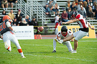 KELOWNA, BC - OCTOBER 6: The Vancouver Island Raiders kick the ball during the second quarter against the Okanagan Sun during  BCFC regular season at the Apple Bowl on October 6, 2019 in Kelowna, Canada. (Photo by Marissa Baecker/Shoot the Breeze)