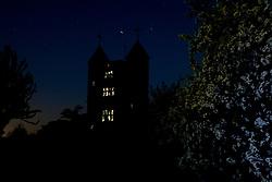 Moonlight reflecting in the windows of the Tower at Sissinghurst Castle Garden