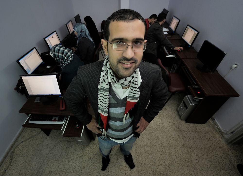 Haytham Maged Aluakhala opened a computer training center in Gaza City at the end of 2011 with a $4,700 grant from the YMCA, a member of the ACT Alliance. The center has more than 40 students enrolled in a study course that includes multimedia web design, and that will grant graduates an International Computer Driving License. The 26-year old represents a new generation of Gaza youth who are using the internet to bridge the Israeli blockade that keeps them physically confined to their narrow territory.