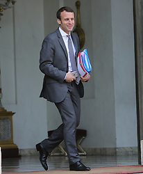 Minister of the Economy, Industry and the Digital Sector Emmanuel Macron leaving the Elysee Palace after the weekly cabinet meeting, in Paris, France on July 6, 2016. Photo by Somer/ABACAPRESS.COM