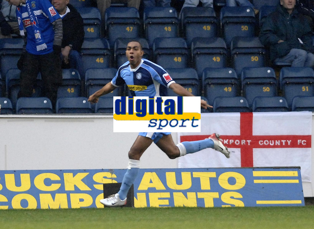 Photo: Richard Lane.<br />Wycombe Wanderers v Stockport County. Coca Cola League 2. 23/12/2006. <br />Wycombe's Kevin Betsy celebrates his goal.