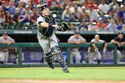 May 22, 2018 - Arlington, TX, U.S. - ARLINGTON, TX - MAY 22: New York Yankees catcher Gary Sanchez (24) picks up the bunt and throws to first base during the game between the Texas Rangers and the New York Yankees on May 22, 2018 at Globe Life Park in Arlington, Texas. The Rangers defeat the Yankees 6-4. (Photo by Matthew Pearce/Icon Sportswire) (Credit Image: © Matthew Pearce/Icon SMI via ZUMA Press)