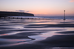 © Licensed to London News Pictures. 07/04/2016. Sandown, UK. Dawn at Sandown Bay on the Isle of Wight this morning, Thursday 7th April 2016. Photo credit : Rob Arnold/LNP