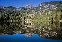 Reflection of 12,713 ft Hallett Peak in Bear Lake.  Rocky Mountain National Park, Colorado.