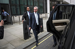 © Licensed to London News Pictures. 17/06/2019. London, UK. Secretary of State for Environment, Food and Rural Affairs, MICHAEL GOVE MP is seen leaving BBC Broadcasting House in London. Boris Johnson has cemented his position as favourite to become the next Prime Minster after winning a landslide in the first round of the conservative party's leadership race. Photo credit: Ben Cawthra/LNP