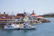 Boats in Rainbow Harbor at Shoreline Village in Long Beach