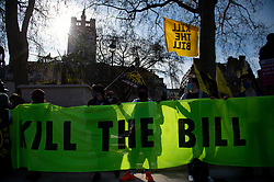 Demonstrators during a 'Kill The Bill' protest against The Police, Crime, Sentencing and Courts Bill in Parliament Square, London. Picture date: Saturday April 17, 2021.
