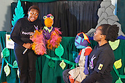 Vanda the Vulture and Mac the Monkey being played by D'Anne Mahlangu and Kitty Moepang during rehearsals for 'No Monkey Business', an AREPP: Theatre for Life production providing interactive social life skills education to school children through theatre productions. They are based in Johannesburg, South Africa.