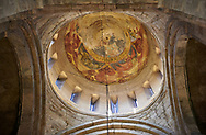 Pictures & images of the interior cupola fresco depicting Christ Pantocrator. The Eastern Orthodox Georgian Svetitskhoveli Cathedral (Cathedral of the Living Pillar) , Mtskheta, Georgia (country). A UNESCO World Heritage Site.<br /> <br /> Currently the second largest church building in Georgia, Svetitskhoveli Cathedral is a masterpiece of Early Medieval architecture completed in 1029 by Georgian architect Arsukisdze on an earlier site dating back toi the 4th century. .<br /> <br /> Visit our MEDIEVAL PHOTO COLLECTIONS for more   photos  to download or buy as prints https://funkystock.photoshelter.com/gallery-collection/Medieval-Middle-Ages-Historic-Places-Arcaeological-Sites-Pictures-Images-of/C0000B5ZA54_WD0s<br /> <br /> Visit our REPUBLIC of GEORGIA HISTORIC PLACES PHOTO COLLECTIONS for more photos to browse, download or buy as wall art prints https://funkystock.photoshelter.com/gallery-collection/Pictures-Images-of-Georgia-Country-Historic-Landmark-Places-Museum-Antiquities/C0000c1oD9eVkh9c