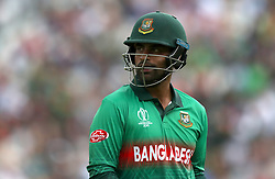 Bangladesh's Tamim Iqbal walks off after being dismissed during the ICC Cricket World Cup group stage match at The Oval, London.