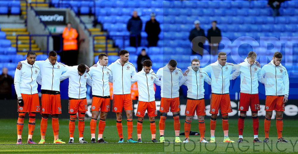 Players line up for a minutes silence and applause for the victims of the Chapecoense aircrash during the FA Cup Second round match at the Macron Stadium, Bolton. Picture date: December 4th, 2016. Pic Simon Bellis/Sportimage