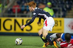 Falkirk's Scott Shepherd tackled by Cowdenbeath's Nathaniel Wedderburn. <br /> Falkirk 1 v 0 Cowdenbeath, William Hill Scottish Cup game played 29/11/2014 at The Falkirk Stadium.