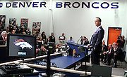 SHOT 3/20/12 1:49:19 PM - The Denver Broncos introduced free agent quarterback Peyton Manning at team headquarters in Englewood, Co. at a press conference on Tuesday Marc 20, 2012. Manning is coming off neck surgery and was released by the Indianapolis Colts. He signed a five year, $96 million contract with the Broncos..(Photo by Marc Piscotty / © 2012)