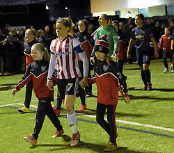 February 20, 2019 - Sheffield, United Kingdom - Sheffield United captain Ellie Gilliatt leads out her team during the  FA Women's Championship football match between Sheffield United Women and Manchester United Women at the Olympic Legacy Stadium, on February 20th Sheffield, England. (Credit Image: © Action Foto Sport/NurPhoto via ZUMA Press)