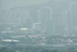 August 3, 2017 - Kuala Lumpur, Malaysia - Haze seen in Kuala Lumpur, Malaysia on August 03, 2017. Malaysia it is ready to render assistance to extinguish forest fires in Indonesia to check any cross-border haze in view of the SEA Games Kuala Lumpur is hosting later this month. Natural Resources and Environment Minister Datuk Seri Wan Junaidi Tuanku Jaafar said on August 02 he would meet the relevant Indonesian minister to convey Malaysia's offer of assistance. (Credit Image: © Chris Jung/NurPhoto via ZUMA Press)